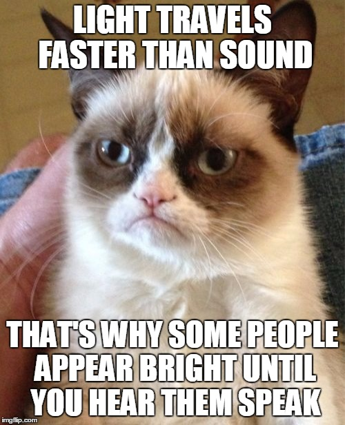 You're smart until you talk | LIGHT TRAVELS FASTER THAN SOUND THAT'S WHY SOME PEOPLE APPEAR BRIGHT UNTIL YOU HEAR THEM SPEAK | image tagged in memes,grumpy cat,smart,dumb,stupid,idiot | made w/ Imgflip meme maker