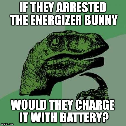 Philosoraptor Meme | IF THEY ARRESTED THE ENERGIZER BUNNY WOULD THEY CHARGE IT WITH BATTERY? | image tagged in memes,philosoraptor | made w/ Imgflip meme maker