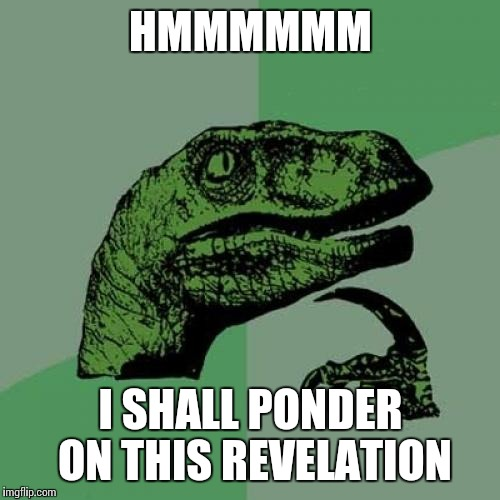 Philosoraptor Meme | HMMMMMM I SHALL PONDER ON THIS REVELATION | image tagged in memes,philosoraptor | made w/ Imgflip meme maker