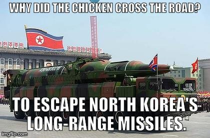 WHY DID THE CHICKEN CROSS THE ROAD? TO ESCAPE NORTH KOREA'S LONG-RANGE MISSILES. | image tagged in funny,north korea,war | made w/ Imgflip meme maker