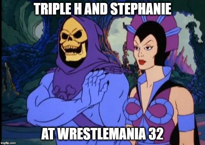 trips @ wm32 | TRIPLE H AND STEPHANIE AT WRESTLEMANIA 32 | image tagged in wwe,wrestlemania,hhh,triple h,stephanie mcmahon | made w/ Imgflip meme maker