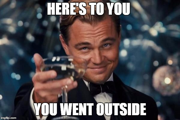 Leonardo Dicaprio Cheers Meme | HERE'S TO YOU YOU WENT OUTSIDE | image tagged in memes,leonardo dicaprio cheers | made w/ Imgflip meme maker
