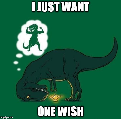What would be your one wish? | I JUST WANT ONE WISH | image tagged in wish,t rex,genie,futurama fry | made w/ Imgflip meme maker