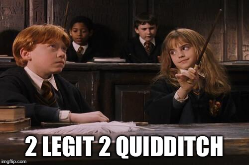 Hermione | 2 LEGIT 2 QUIDDITCH | image tagged in hermione | made w/ Imgflip meme maker
