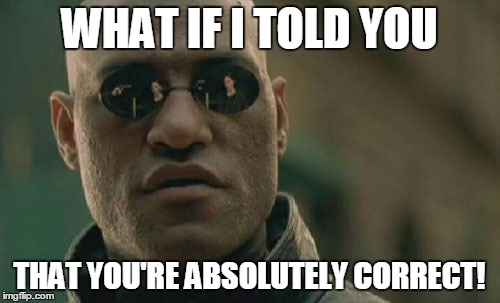Matrix Morpheus Meme | WHAT IF I TOLD YOU THAT YOU'RE ABSOLUTELY CORRECT! | image tagged in memes,matrix morpheus | made w/ Imgflip meme maker