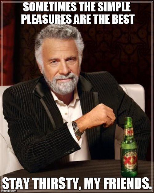The Most Interesting Man In The World Meme | SOMETIMES THE SIMPLE PLEASURES ARE THE BEST STAY THIRSTY, MY FRIENDS. | image tagged in memes,the most interesting man in the world | made w/ Imgflip meme maker