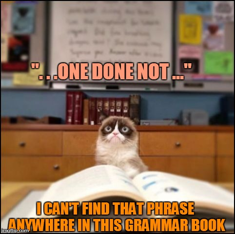 """. . .ONE DONE NOT ..."" I CAN'T FIND THAT PHRASE ANYWHERE IN THIS GRAMMAR BOOK 