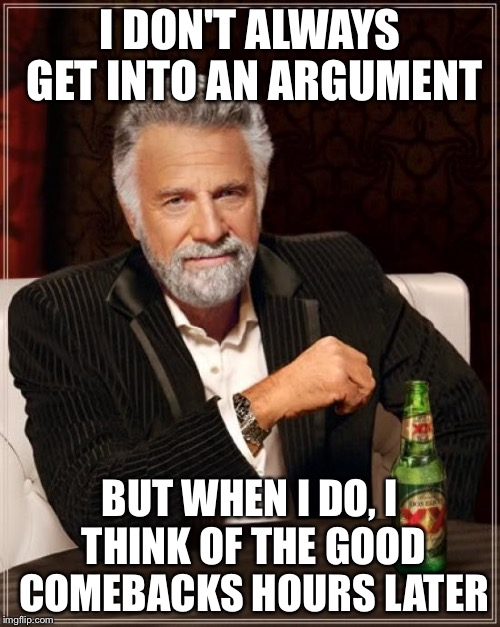 The Most Interesting Man In The World Meme | I DON'T ALWAYS GET INTO AN ARGUMENT BUT WHEN I DO, I THINK OF THE GOOD COMEBACKS HOURS LATER | image tagged in memes,the most interesting man in the world | made w/ Imgflip meme maker