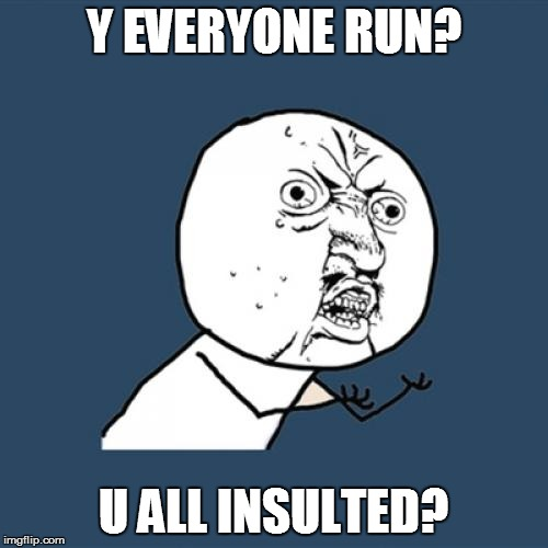 Y U No Meme | Y EVERYONE RUN? U ALL INSULTED? | image tagged in memes,y u no | made w/ Imgflip meme maker