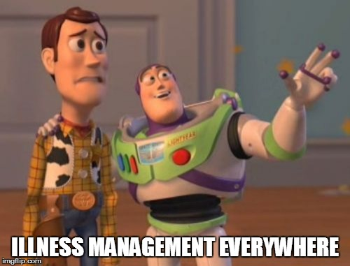 X, X Everywhere Meme | ILLNESS MANAGEMENT EVERYWHERE | image tagged in memes,x x everywhere | made w/ Imgflip meme maker