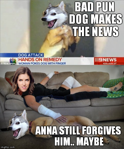 Can their differences be reconciled?? | BAD PUN DOG MAKES THE NEWS ANNA STILL FORGIVES HIM.. MAYBE | image tagged in bad pun dog,anna kendrick | made w/ Imgflip meme maker