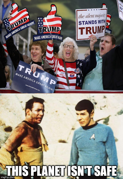 brave new worlds | THIS PLANET ISN'T SAFE | image tagged in kirk,spock | made w/ Imgflip meme maker