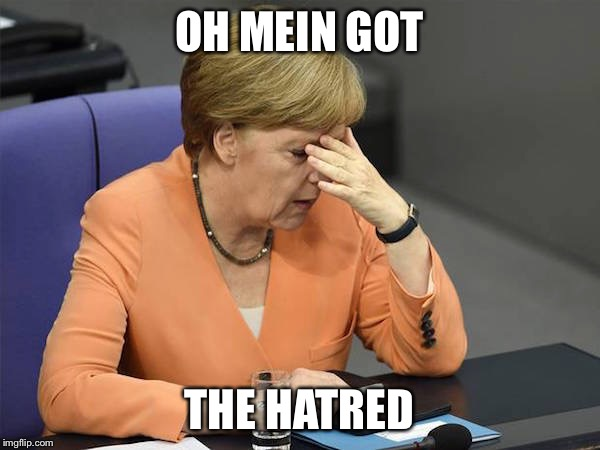 Facepalm Merkel | OH MEIN GOT THE HATRED | image tagged in facepalm merkel | made w/ Imgflip meme maker