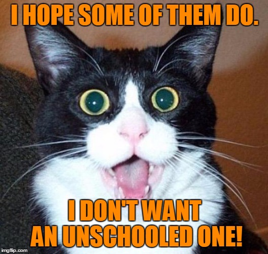 I HOPE SOME OF THEM DO. I DON'T WANT AN UNSCHOOLED ONE! | made w/ Imgflip meme maker