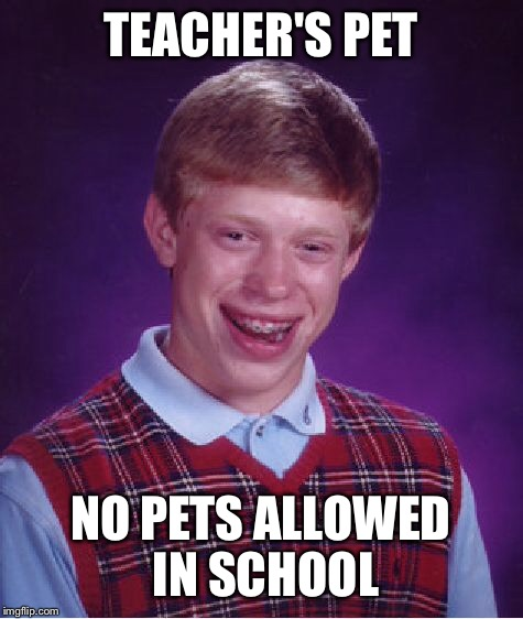 Bad Luck Brian Meme | TEACHER'S PET NO PETS ALLOWED IN SCHOOL | image tagged in memes,bad luck brian | made w/ Imgflip meme maker