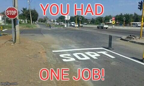 we have no spelling bees in south africa | YOU HAD ONE JOB! | image tagged in minor mistake marvin | made w/ Imgflip meme maker