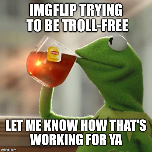 But Thats None Of My Business Meme | IMGFLIP TRYING TO BE TROLL-FREE LET ME KNOW HOW THAT'S WORKING FOR YA | image tagged in memes,but thats none of my business,kermit the frog | made w/ Imgflip meme maker