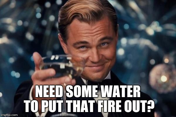 Leonardo Dicaprio Cheers Meme | NEED SOME WATER TO PUT THAT FIRE OUT? | image tagged in memes,leonardo dicaprio cheers | made w/ Imgflip meme maker