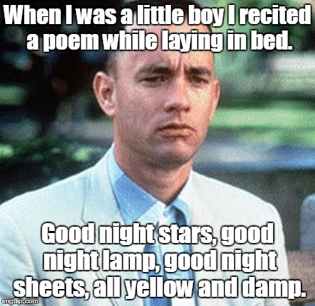 forrest gump | When I was a little boy I recited a poem while laying in bed. Good night stars, good night lamp, good night sheets, all yellow and damp. | image tagged in forrest gump | made w/ Imgflip meme maker