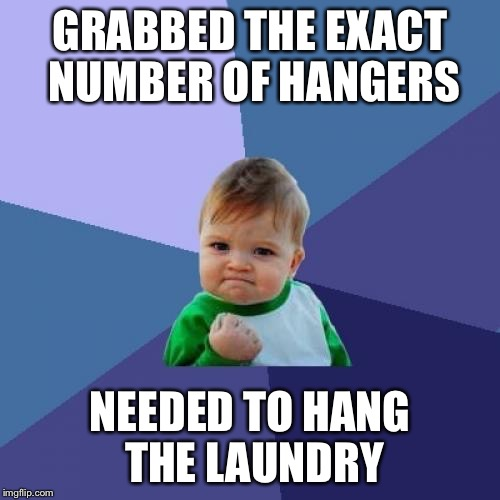 Success Kid Meme | GRABBED THE EXACT NUMBER OF HANGERS NEEDED TO HANG THE LAUNDRY | image tagged in memes,success kid,AdviceAnimals | made w/ Imgflip meme maker