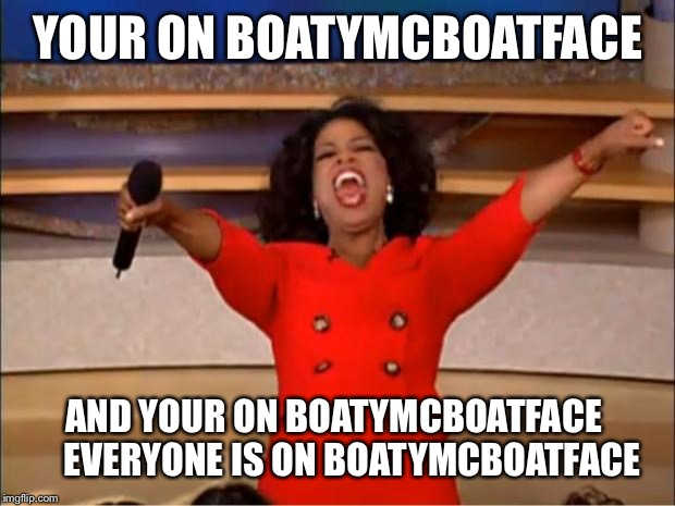 Oprah You Get A Meme | YOUR ON BOATYMCBOATFACE AND YOUR ON BOATYMCBOATFACE      EVERYONE IS ON BOATYMCBOATFACE | image tagged in memes,oprah you get a | made w/ Imgflip meme maker