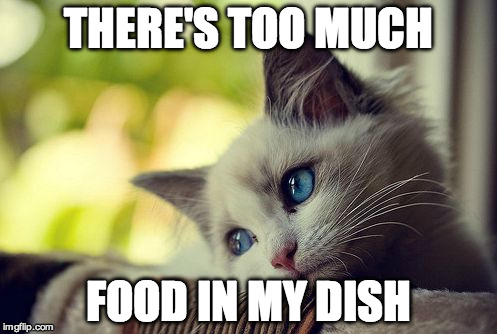 First World Problems Cat |  THERE'S TOO MUCH; FOOD IN MY DISH | image tagged in memes,first world problems cat | made w/ Imgflip meme maker