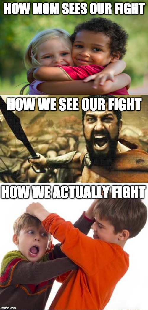sibling rivalry |  HOW MOM SEES OUR FIGHT; HOW WE SEE OUR FIGHT; HOW WE ACTUALLY FIGHT | image tagged in memes,siblings | made w/ Imgflip meme maker