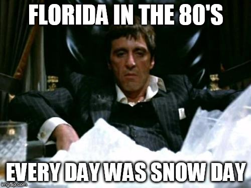 Tony Montana | FLORIDA IN THE 80'S EVERY DAY WAS SNOW DAY | image tagged in tony montana | made w/ Imgflip meme maker