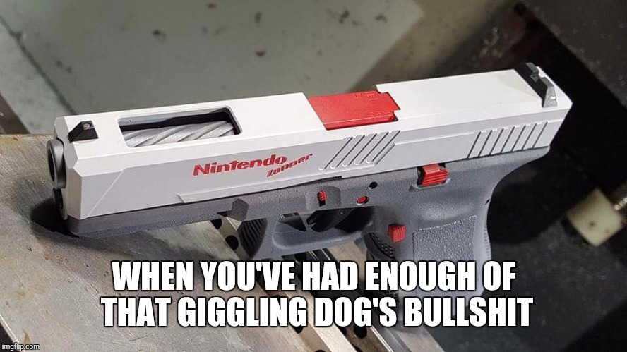 WHEN YOU'VE HAD ENOUGH OF THAT GIGGLING DOG'S BULLSHIT | image tagged in nintendo,duck hunt | made w/ Imgflip meme maker