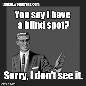What blind spot? |  timfall.wordpress.com; You say I have a blind spot? Sorry, I don't see it. | image tagged in blind spot,denial | made w/ Imgflip meme maker