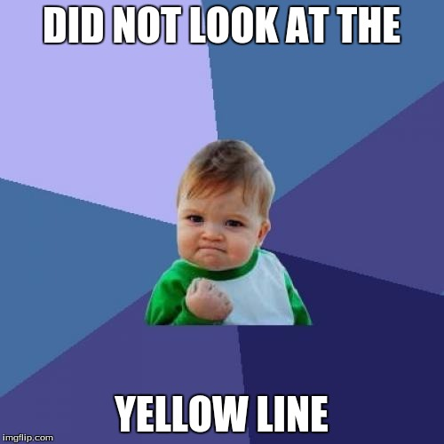 Success Kid Meme | DID NOT LOOK AT THE YELLOW LINE | image tagged in memes,success kid | made w/ Imgflip meme maker