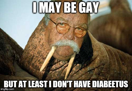 I MAY BE GAY BUT AT LEAST I DON'T HAVE DIABEETUS | made w/ Imgflip meme maker