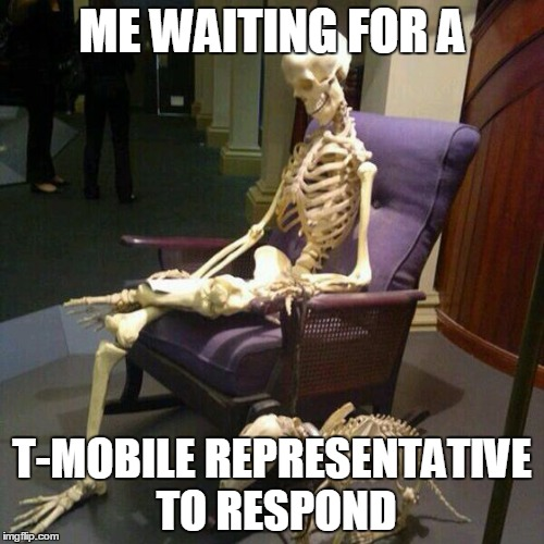 Waiting for a T-Mobile representative to respond... |  ME WAITING FOR A; T-MOBILE REPRESENTATIVE TO RESPOND | image tagged in t-mobile,waiting skeleton | made w/ Imgflip meme maker