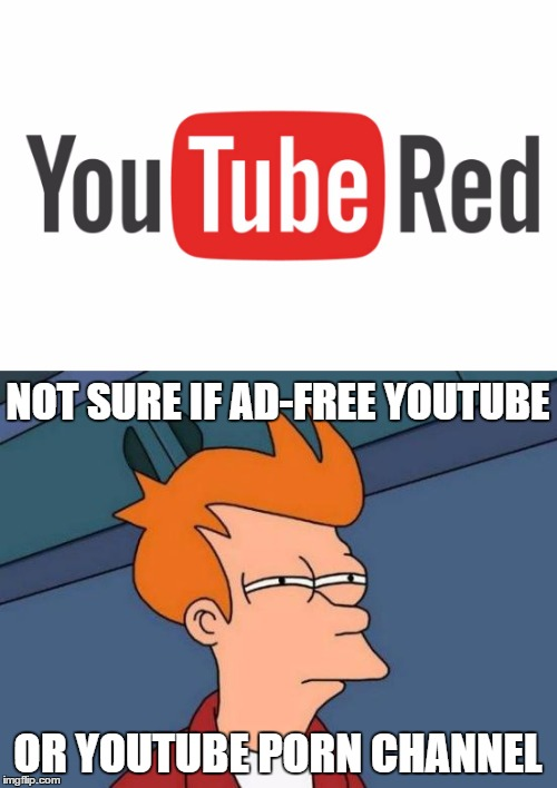 NOT SURE IF AD-FREE YOUTUBE OR YOUTUBE PORN CHANNEL | made w/ Imgflip meme maker