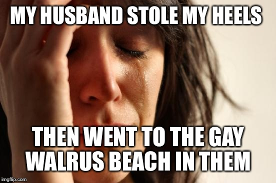 First World Problems Meme | MY HUSBAND STOLE MY HEELS THEN WENT TO THE GAY WALRUS BEACH IN THEM | image tagged in memes,first world problems | made w/ Imgflip meme maker