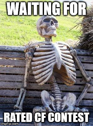 Waiting Skeleton Meme | WAITING FOR RATED CF CONTEST | image tagged in memes,waiting skeleton | made w/ Imgflip meme maker