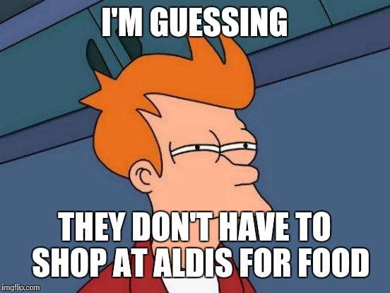 Futurama Fry Meme | I'M GUESSING THEY DON'T HAVE TO  SHOP AT ALDIS FOR FOOD | image tagged in memes,futurama fry | made w/ Imgflip meme maker