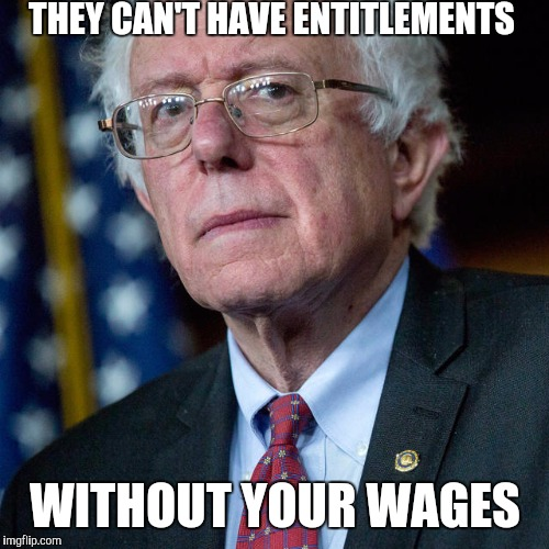 Your wages | THEY CAN'T HAVE ENTITLEMENTS WITHOUT YOUR WAGES | image tagged in socialism,feel the bern | made w/ Imgflip meme maker