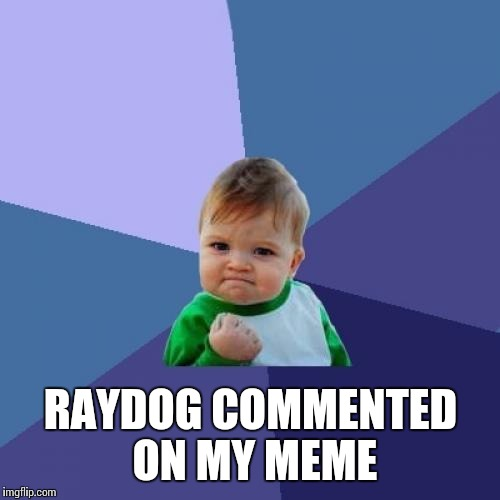 Success Kid Meme | RAYDOG COMMENTED ON MY MEME | image tagged in memes,success kid | made w/ Imgflip meme maker