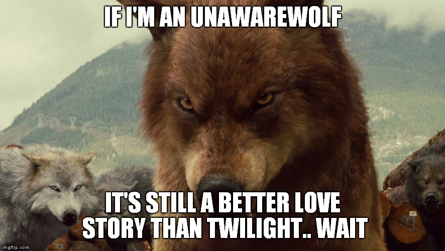 IF I'M AN UNAWAREWOLF IT'S STILL A BETTER LOVE STORY THAN TWILIGHT.. WAIT | made w/ Imgflip meme maker