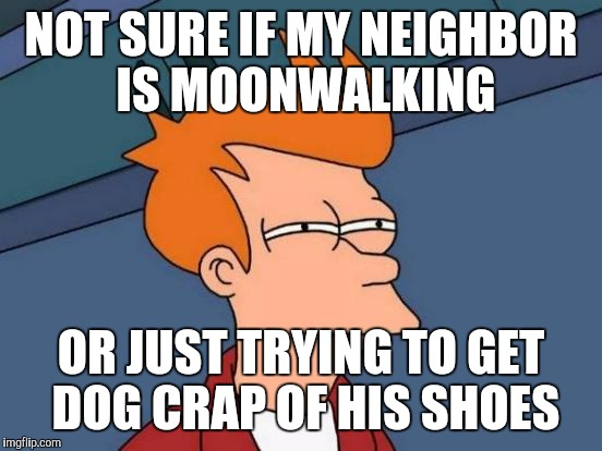 Futurama Fry Meme | NOT SURE IF MY NEIGHBOR IS MOONWALKING OR JUST TRYING TO GET DOG CRAP OF HIS SHOES | image tagged in memes,futurama fry | made w/ Imgflip meme maker