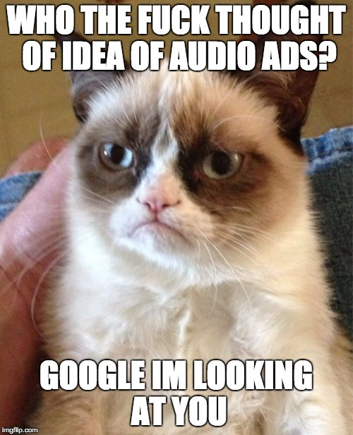 Grumpy Cat Meme | WHO THE F**K THOUGHT OF IDEA OF AUDIO ADS? GOOGLE IM LOOKING AT YOU | image tagged in memes,grumpy cat | made w/ Imgflip meme maker