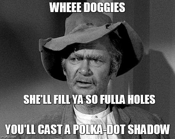 WHEEE DOGGIES YOU'LL CAST A POLKA-DOT SHADOW SHE'LL FILL YA SO FULLA HOLES | made w/ Imgflip meme maker