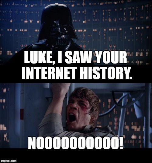 Luke, what were you looking at... | LUKE, I SAW YOUR INTERNET HISTORY. NOOOOOOOOOO! | image tagged in memes,star wars no,star wars,darth vader,luke skywalker,funny | made w/ Imgflip meme maker