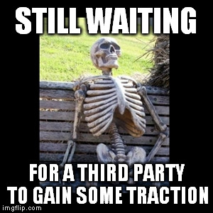 STILL WAITING FOR A THIRD PARTY TO GAIN SOME TRACTION | image tagged in still waiting,politics,libertarian,libertarianism,political | made w/ Imgflip meme maker