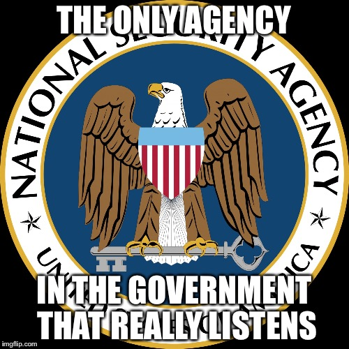 NSA Puns | THE ONLY AGENCY IN THE GOVERNMENT THAT REALLY LISTENS | image tagged in nsa puns | made w/ Imgflip meme maker