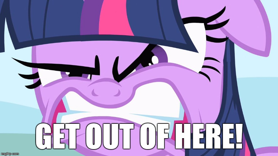ANGRY Twilight | GET OUT OF HERE! | image tagged in angry twilight | made w/ Imgflip meme maker