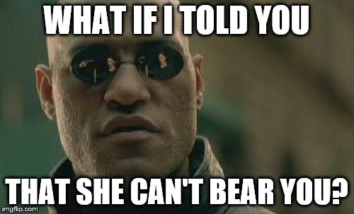 Matrix Morpheus Meme | WHAT IF I TOLD YOU THAT SHE CAN'T BEAR YOU? | image tagged in memes,matrix morpheus | made w/ Imgflip meme maker