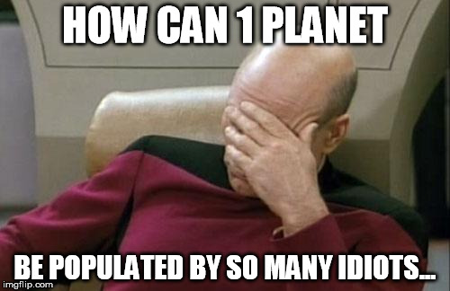 Captain Picard Facepalm Meme | HOW CAN 1 PLANET BE POPULATED BY SO MANY IDIOTS... | image tagged in memes,captain picard facepalm | made w/ Imgflip meme maker