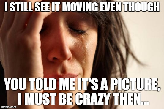 First World Problems Meme | I STILL SEE IT MOVING EVEN THOUGH YOU TOLD ME IT'S A PICTURE, I MUST BE CRAZY THEN... | image tagged in memes,first world problems | made w/ Imgflip meme maker